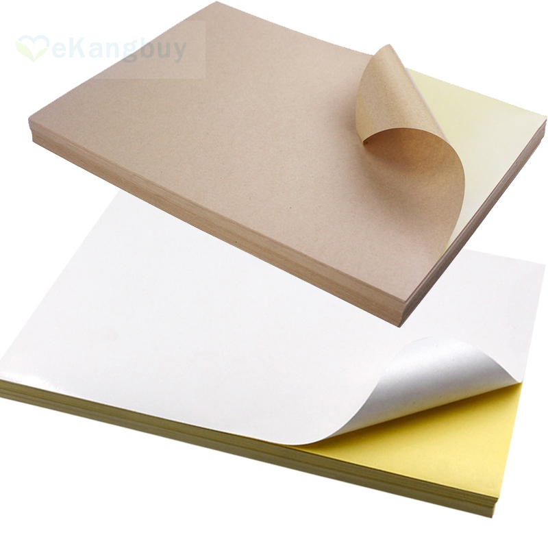 50sheets A4 Kraft White Self-Adhesive Paper Print Copy Paper DIY Sticker Label Paper