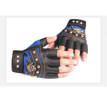 PU Leather Fingerless Gloves with Skulls Rivet