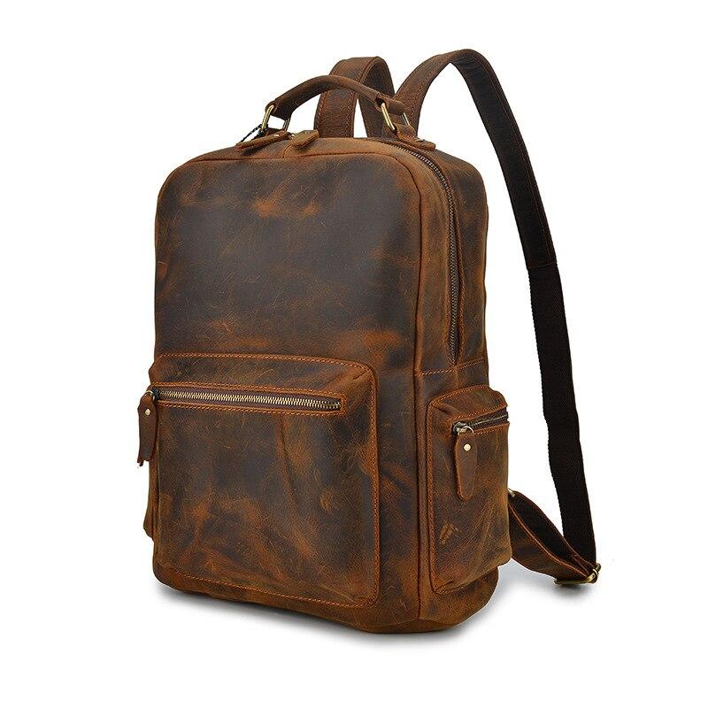 YUPINXUAN Top qualité première couche sacs à dos en cuir de vache Vintage Ipad sacs à dos pour voyage rétro sacs à dos sac d'école en cuir véritable