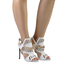 Pink Palms 2017 women summer shoes high heels sandals white novelty hollow cut metal chain punk classics party ladies sandals