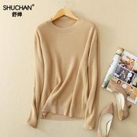 SHUCHAN 2017 Womens Cashmere Knitted Sweaters New Arrival Winter Cashmere Christmas Sweater Elegant Round-neck Basic B087