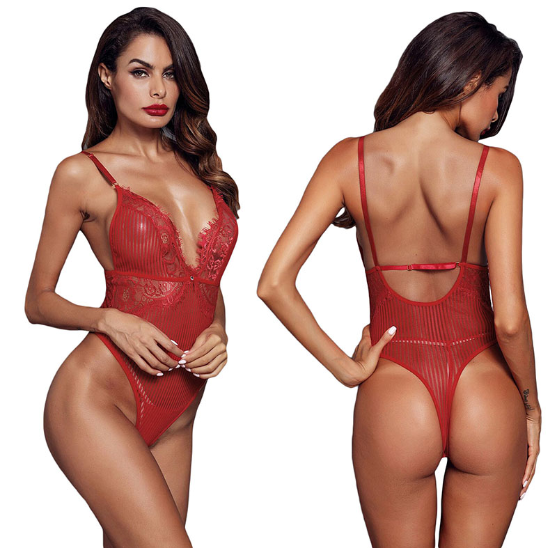 Red-Triangular-Lace-Bodysuit-LC32223-3-3