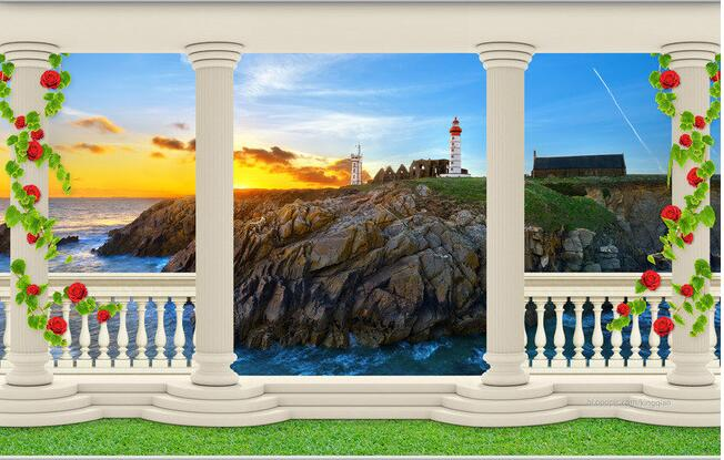 3d wallpaper custom mural non-woven wall stickers 3 d TV setting wall beacon balcony sea view photo 3d wall murals wallpaper