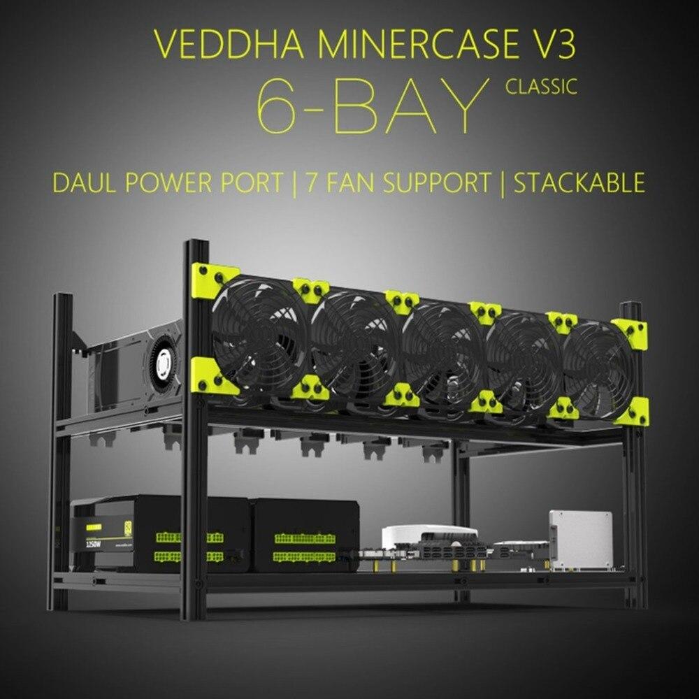 Boîtier empilable en alliage d'aluminium pour installation minière Veddha V3C6 GPU haute Performance jusqu'à 6 support de support de cadre à Air ouvert GPU