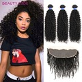 Mink Brazilian Hair Lace Frontal Closure with Bundles Brazilian Kinky Curly Virgin Hair with Frontal 8A Brazilian Curly Hair