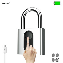 Sectec USB rechargeable door lock fingerprint padlock quick unlock  security keyless smart metal self developing chip for bike
