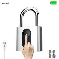 Sectec USB rechargeable door lock fingerprint padlock quick unlock security keyless smart metal self developing chip for bike