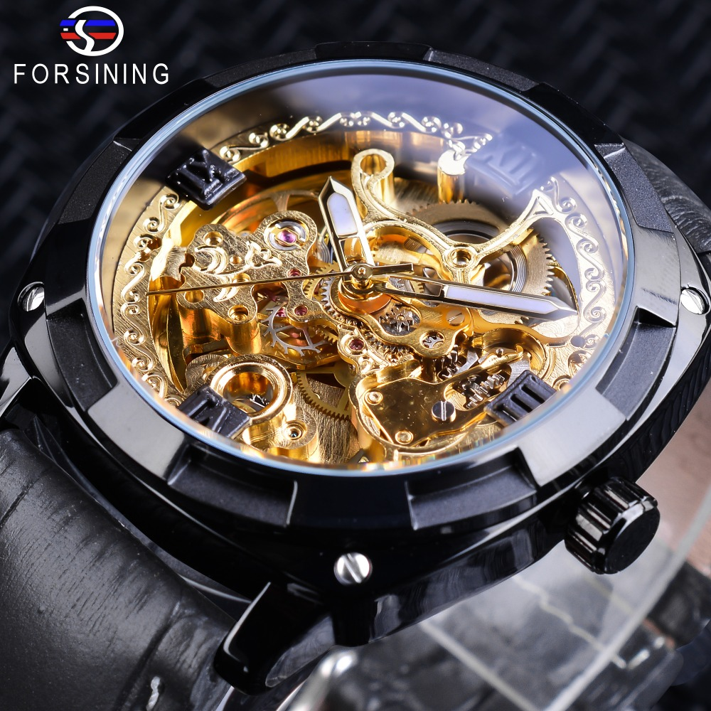 Forsining Black Golden Clock Transparent Case Genuine Leather Band Luminous Hands Automatic Watches for Men Sport Male