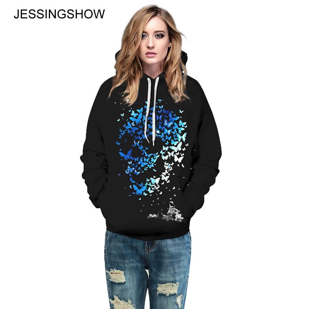 JESSINGSHOW 2017 Black Hoodies Sweatshirts Blue Butterfly Skull Printed Women Men Lover Long Sleeve Pullovers Gothic Loose Tops