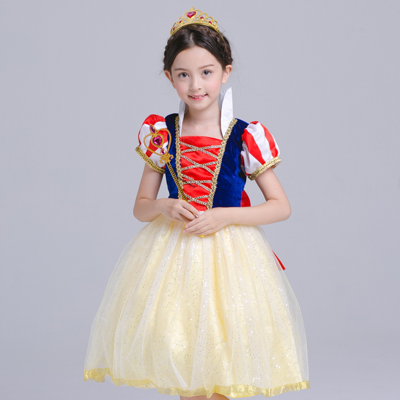 Fashion Children Cosplay Dress Snow White Girl Princess Halloween Party Dress Costume 4 to 10 Years Children Show Dress Cloth hot sale halloween cosplay costume for women snow white princess black wigs free shipping