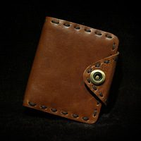 Black Coffee Men Viintage Genuine Leather Short Wallet Handmade Wax Brown Thicker Cow Leather Big Button
