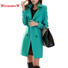 Bayan Kaban Real Autumn Winter Women Outerwear 2017 Fashion New Solid Color Mid Long Section Double Breasted Sleeves Coat Ll243