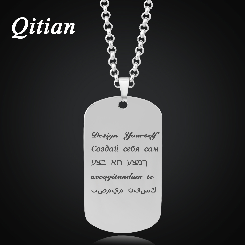 Qitian Custom Engraved Army Name Tag Pendant Necklaces States