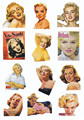 size A4 fashion sheet sticker Marilyn Monroe sticker,sexy girl sticker,pinup girl sticker BLINGIRD