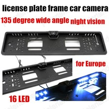 best selling Waterproof 16 LED 135 degree wide angle European Car License Plate Frame Rear View Backup Camera free shipping