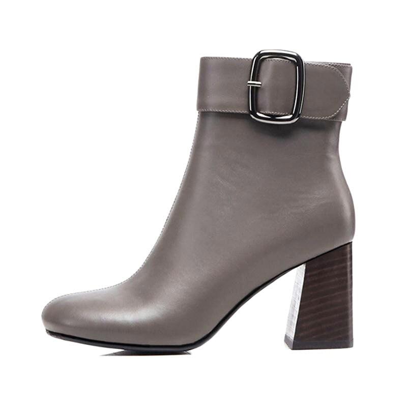 À Cuir Noir Jojonunu Hauts De Cheville Taille 42 Mode Bout 33 Rond Talons Bottes Chauds gris En Véritable Femmes Boucle Hiver Chaussures wxCxq4Av