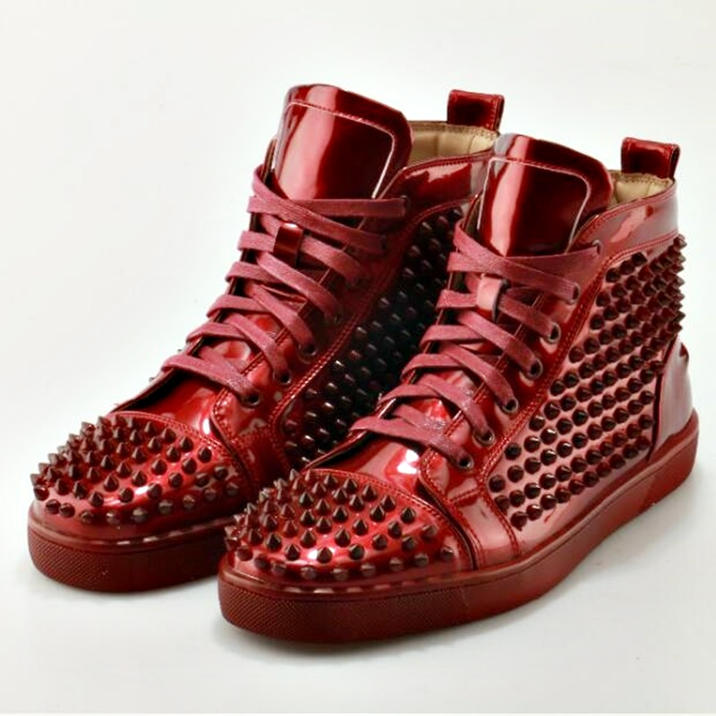 LTTL New Fashion Red Patent Leather Sneakers Men Designer High Top Sneakers Breathable Lace-up Men Rivet Shoes Casual Man Shoes red off shoulder lace up elastic waistband casual co ords