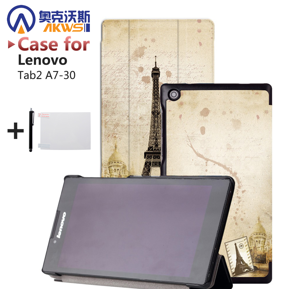 Magnet Closure Stand Leather Cover Tablet Case for Lenovo Tab 2 A7-30 7 Tablet cover  + Screen protector +Stylus Pen Gift ultra slim case for lenovo tab 2 a8 50 case flip pu leather stand tablet smart cover for lenovo tab 2 a8 50f 8 0inch stylus pen