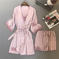 Lisacmvpnel 3 Pcs Embroidery Lace Shorts Women Robe Set Ice Silk Long Sleeve Sleepwear