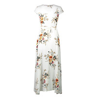TFGS Women S Fashion Long Summer Beach Dress Sexy Deep V Floral Chiffon Maxi Dress Front