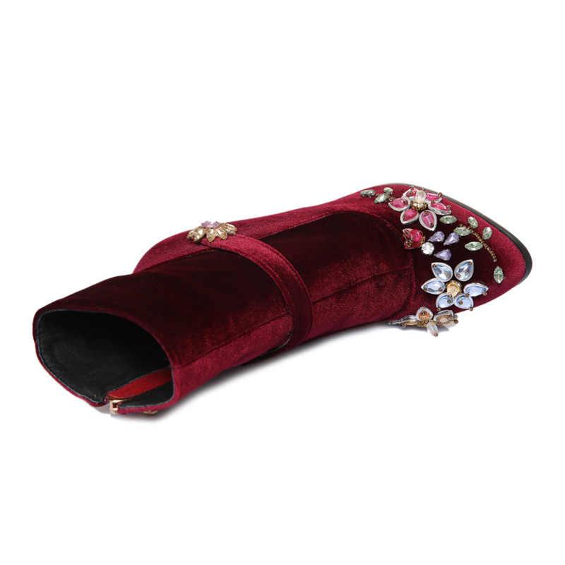 Phoentin siyah rhinestone çiçek kadın botları düğün retro bayanlar yarım çizmeler kuş kafesi yüksek topuklu fermuar kadife ayakkabı FT466