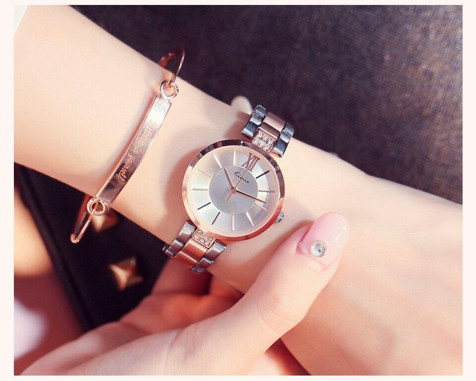 KIMIO Thin Clock Women Fashion Simple Watches Rhinestones Dress Woman Watch Rose Gold Quartz Ladies Women's Watch Wristwatch 11