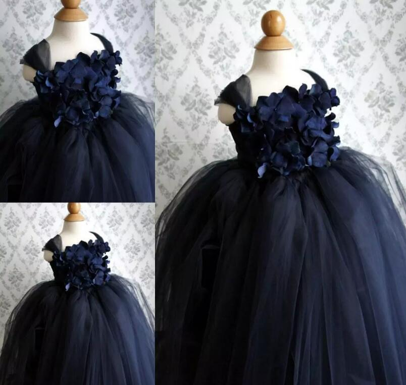 Navy Blue Princess Flower Girls Dresses for Wedding Party with Spaghetti Strap Tulle Floor Length Ball Gown alfani new navy blue spaghetti strap sleeveless womens size 12 tank cami top $29