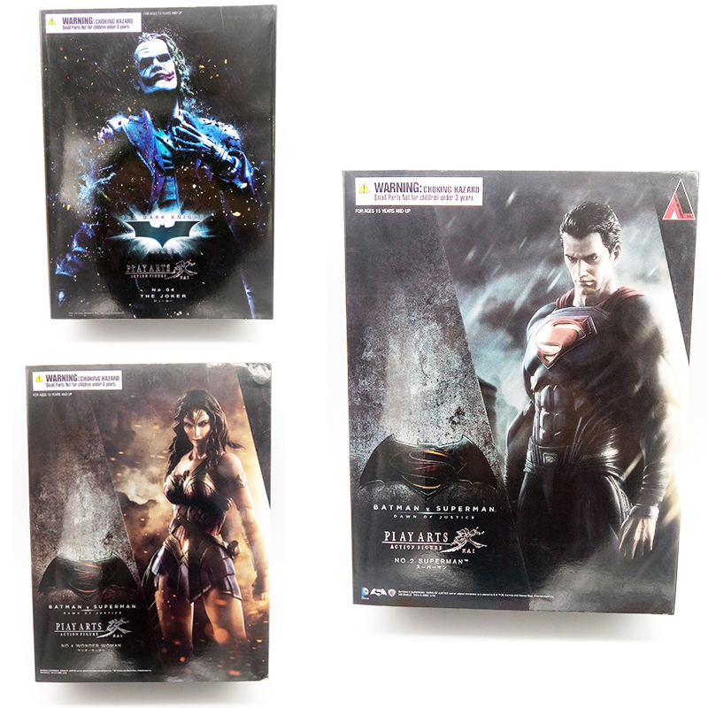 Play Arts Kai Superman Joker Wonder Woman batman Dawn of Justice DC Avengers harley PVC action Figure Collectible Model Toys