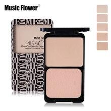 Music flower marca base de rosto pressionado pó maquiagem nude matte shimmer paleta de correção corretivo contorno compacto cosméticos com sopro(China (Mainland))