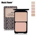 Music flower marca base de rosto pressionado pó maquiagem nude matte shimmer paleta de correção corretivo contorno compacto cosméticos com sopro