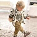 Baby Boy Traje Formal Hermoso Bebé Ropa de Primavera Niños Moda Trajes 3 unids celosía Camisa + Chaleco + Pantalones de Bebé ropa Fijada