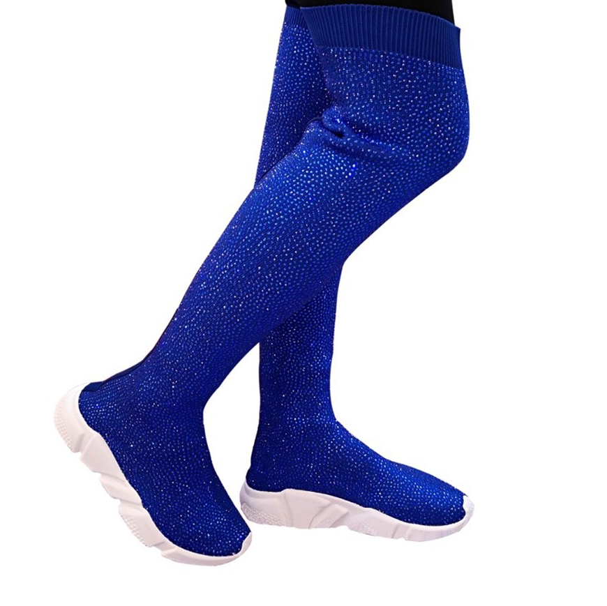 Fashion Women Knitting Sock Boots Sport Flat Handmade Spring Autumn Rhinestones Sneaker Women Air Brand Thigh High Boots