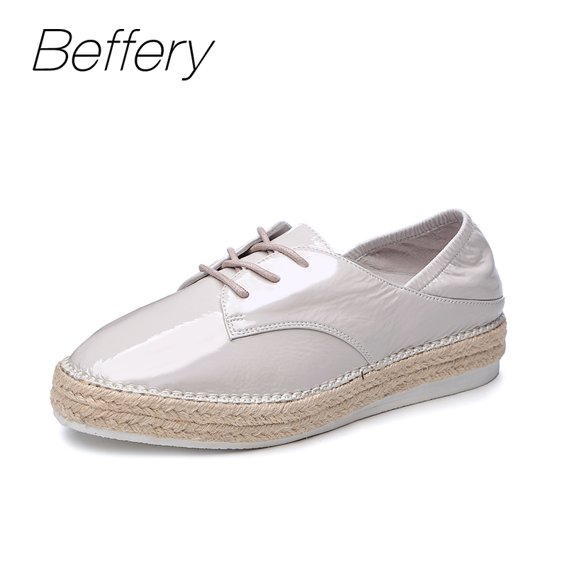 Beffery Women's shoes British Style Patent Leather Flat Shoes Fashion Thick bottom Platform Shoes For Women Lace-up Casual Shoes beffery 2018 spring patent leather shoes women flats round toe casual shoes vintage british style flats platform shoes for women