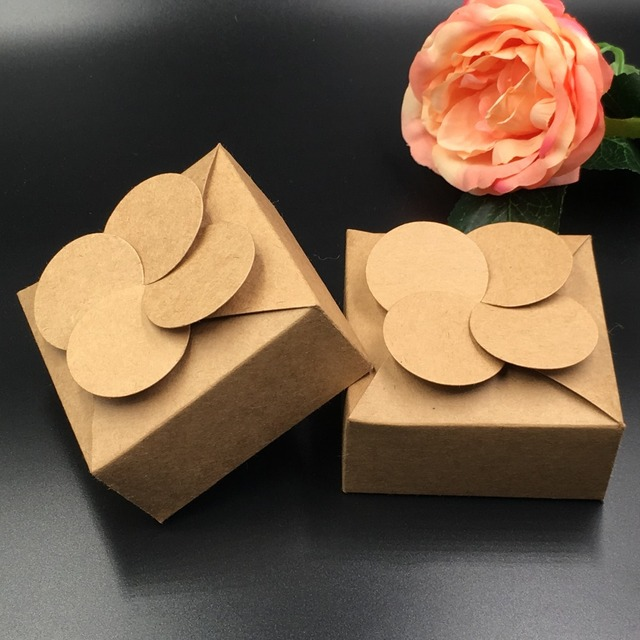 50pcslot Retro Mini Kraft Paper Boxdiy Wedding Gift Favor Boxes