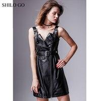 SHILO GO Leather Overalls Dress Autumn Fashion sheepskin genuine leather Dress metal spaghetti strap V Neck laple rivet dress
