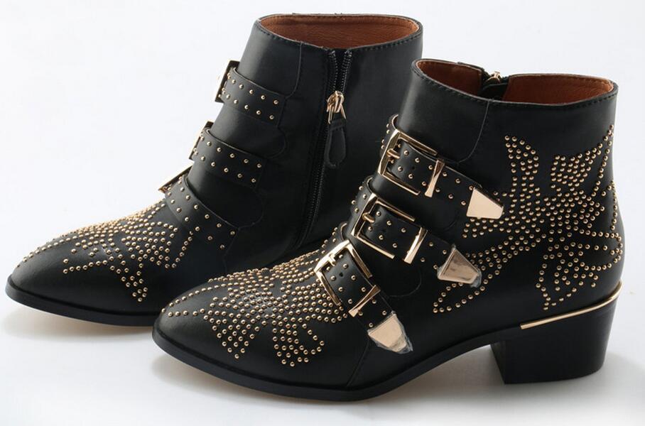 Sexy moda remaches Susanna tachonado cuero hebilla tobillo botas mujeres gatito tacones zapatos de invierno tachonado tobillo botas para mujer - 3
