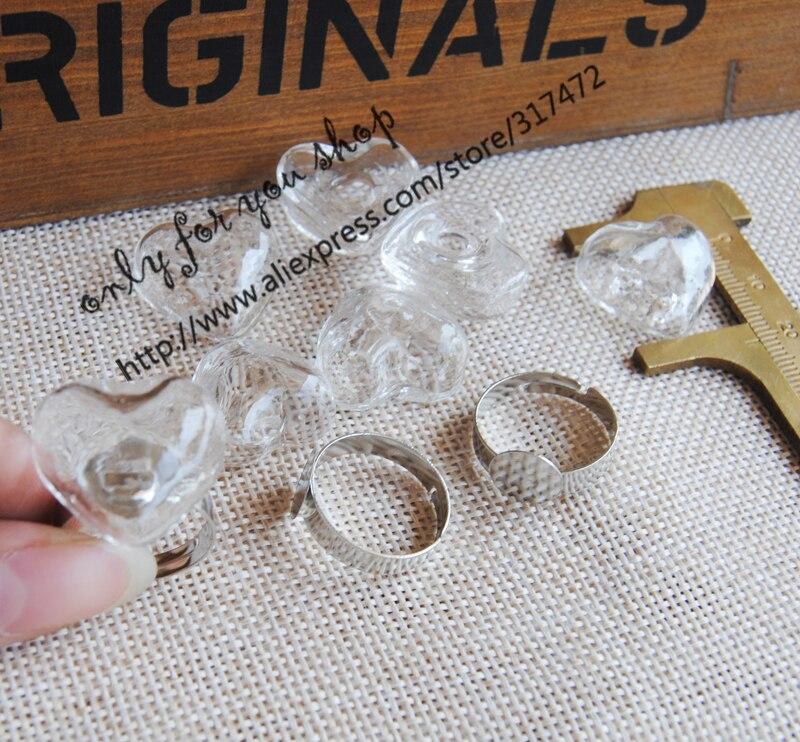 200pcs Heart Glass Liquid  Ring Pendant ,glass Bubble/ Glass  Vial Pendant & White K Metal Ring DIY Glass Vial Rings