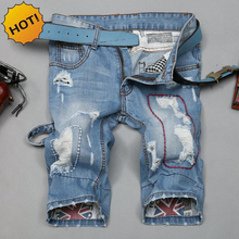 HOT 2016 Mens Straight Hole Ripped Distressed graffiti Wash Light Blue Short Jeans Men Stitching Retro Knee Length Shorts 28-36