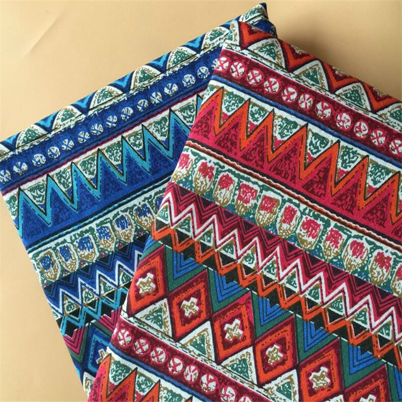 Folk Custom Patterns Printed Cotton Linen Patchwork Fabric Canvas Wear Resistant Material DIY Handmade Sewing Quilting Cloth in Fabric from Home Garden