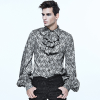 Devil Fashion Noble Fancy Men Shirt With Tie Collar Plus Size 4XL Spring Autumn Punk Gothic