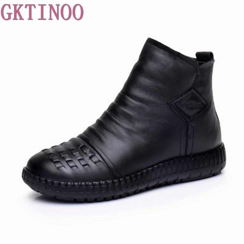 women 2018 autumn winter fashion genuine leather handmade vintage shoes female ankle boots comfortable botas 2018 autumn
