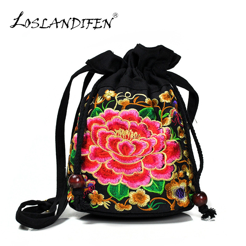Canvas Embroidery Mini Bucket Messenger Bag Drawstring Bucket Bag Chinese Style Small Crossbody Shoulder Bag