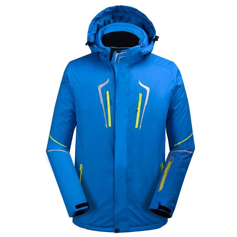 Black/blue/green fluorescent men's outdoor ski wear waterproof and windproof 10000 ski jacket winter warm solid color ski suit universal cute funny jacket style cellphone bag blue fluorescent green