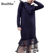 Realshe 2018 весеннее платье Кружево Лоскутная одежда с длинным рукавом трикотажные Свитеры для женщин Платья для женщин Для женщин Повседневное Новая мода Костюмы Vestidos черный