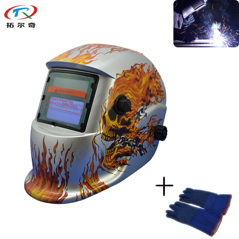 The Best Silver Color Skeleton Soldering Welding Helmet Fully Automatic Darkening Weld Mask Ce Approved+weld Glove Trq-hd08-2200de Bright And Translucent In Appearance Welding & Soldering Supplies Welding Helmets