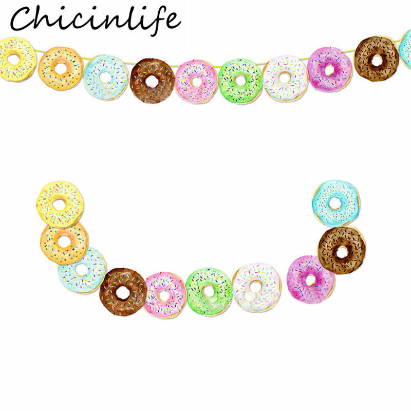 Chicinlife 10Pcs/Set Doughnut Banner Birthday Party Baby Shower Kids Favors Donut Theme Party Garland Bunting Decor Supplies