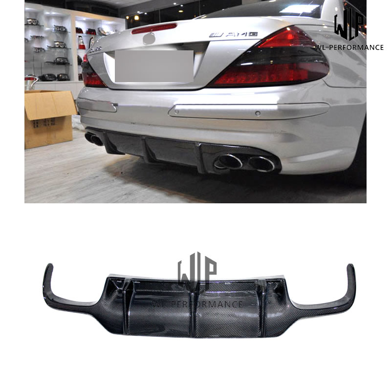 R230 High Quality Carben Fiber Rear Lip Diffuser Car Styling For Mercedes-Benz SL Class SL500 SL600 Car Body Kit 2007-2012