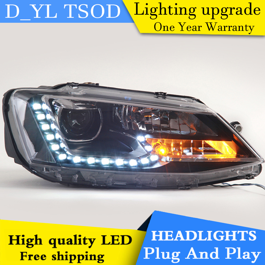 D_YL Car Styling LED Head Lamp for VW Jetta headlights 2012 2016 Jetta led headlight led drl H7 hid Q5 Bi Xenon Lens low beam-in Car Light Assembly from Automobiles & Motorcycles    1