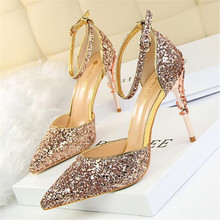 LAIDILANGTU Women's high heels 2018 new fashion sexy hollow nightclubs thin metal with high heel shine sequins with a sandals qzyerai summer 2018 european style sexy hollow metal heel high heel shining sequins a word band sandals gold size 34 39