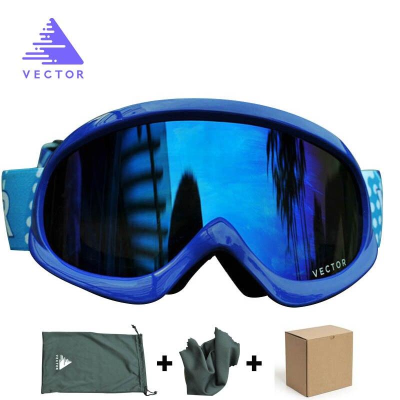 Вектор детей лыжные очки набор для Обувь для девочек Обувь для мальчиков двойные линзы UV400 Анти-туман снег Лыжный Спорт Очки Детские зимние ...